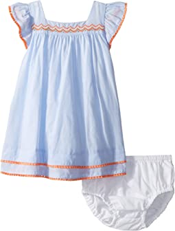 Flutter Sleeve Pom Trim Dress (Infant)