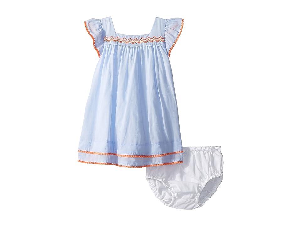 Janie and Jack Flutter Sleeve Pom Trim Dress (Infant) (Blue/Orange) Girl