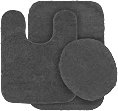 MK Home Collection 3 Piece Bathroom Rug Set Bath Rug, Contour Mat & Lid Cover Non-Slip with Rubber Backing Solid Charcoal/...