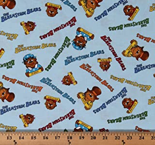 Cotton Welcome To Bear Country The Berenstain Bears Logo & Family Pictures Names on Blue Cotton Fabric Print by the Yard (5550317)