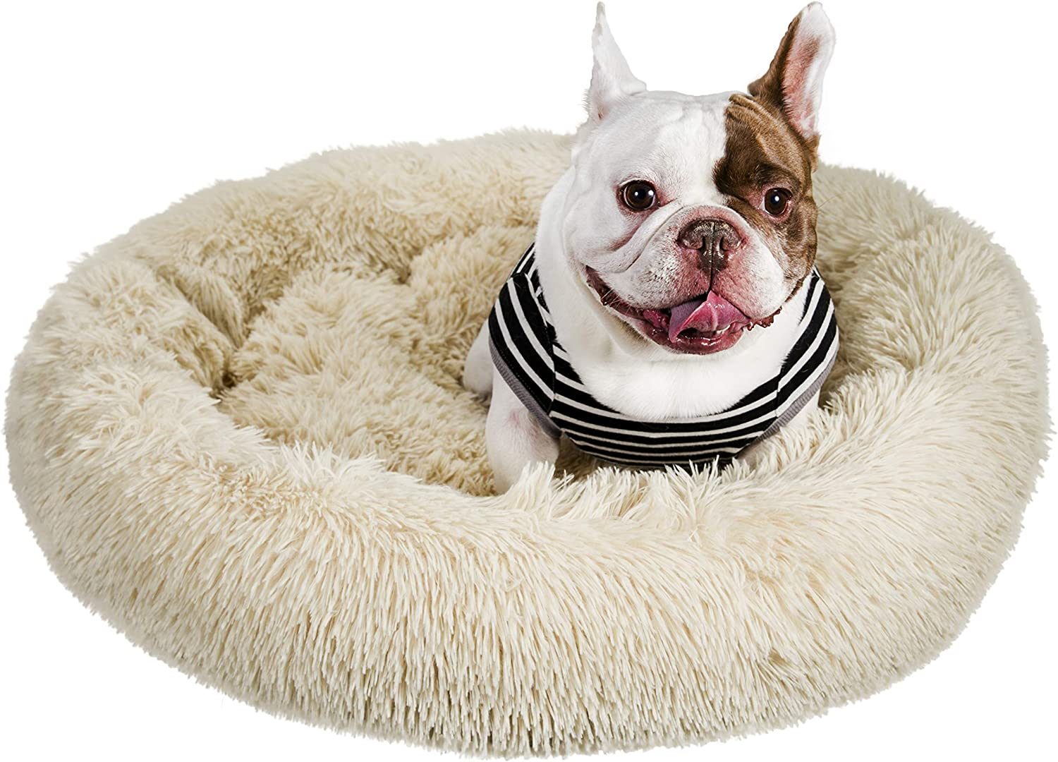 Self-Warming Fluffy Dog and Cat Calming Cushion Bed with Non-Slip Bottom for Joint-Relief and Improved Sleep Qucey Dog Cat Bed Soft Comfortable Faux Fur Donut Cuddler