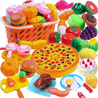 DigHeath 45pcs Pretend Play Food Set,Kitchen Cutting Toys,BPA Free Plastic Fruits & Vegetables for Kids with Realistic Basket,Knife and Chopping Board,Best Children Educational Play Set