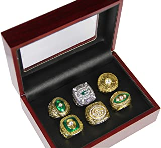GF-sports store Set of 6 Green Bay Packers Championship Replica Ring by Display Box Set- Fashion Gorgeous Collectible Jewelry