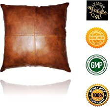 Leather Planet 100% Lambskin Leather Throw Pillow Cushion Cover - Sofa Cushion Case - Decorative Throw Cover for Indoor and Outdoor - 18x18 Inches - Tan Antique Pack of 1