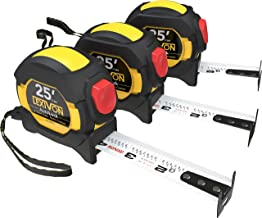 LEXIVON [3-Pack] 25Ft/7.5m AutoLock Tape Measure | 1-Inch Wide Blade with Nylon Coating, Matte Finish White & Yellow Dual ...
