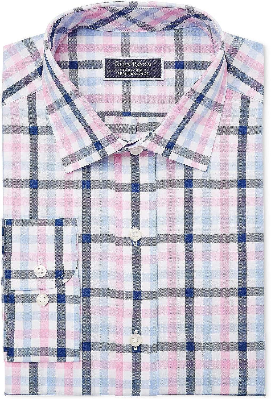 Club Room Men's Regular Fit Multi Gingham Pink/White Dress Shirt, Size 17 32/33