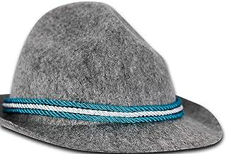 Tiroler-Hut für Herren Grau Bayern-Hut Bayrischer Trachtenhut mit Feder Sepplhut