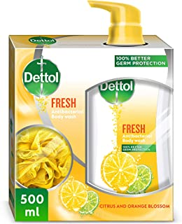 Dettol Fresh Anti-Bacterial Body Wash 500ml With Puff - Citrus and Orange Blossom