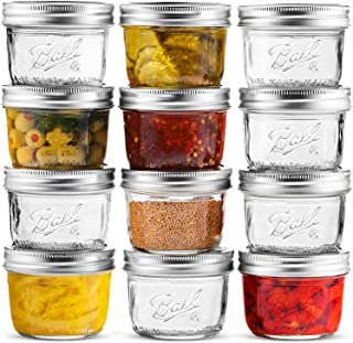 Ball Mason Jars 4 oz [12 Pack] Mini Mouth Jelly Jars With Airtight lids and Bands For Canning, Preserving, Jams, Favors, D...