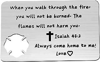 bobauna Firefighter Prayer keychain/Wallet Card Isaiah 43:2 Religious Christian Gift
