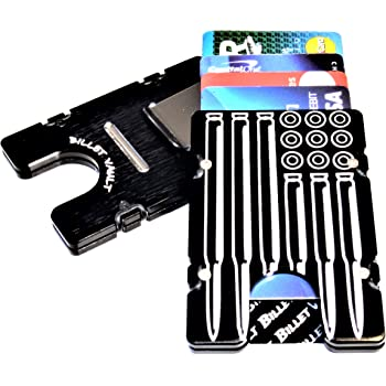 American Flag RFID protection Billet Aluminum Wallet//Credit card Holder Black