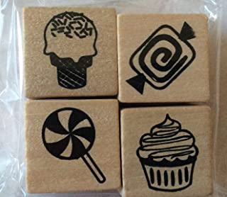 Set of 4 Food Treats Mini-Stamps - Wood Mounted - Ice Cream Cone, Lollipop, Cupcake, Candy