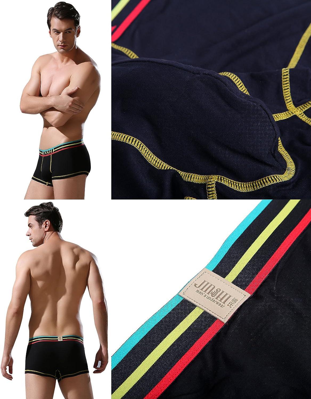 Jinshi Mens Bamboo Underwear Boxer Briefs Short Leg Tagless Pouch Trunk