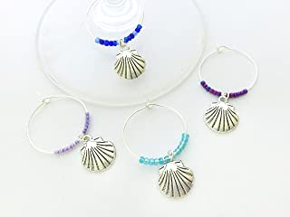 Seashell Wine Charms, Gift for Beach Lover, beach Vacation, Summer at the Shore, Sea Shells, Set of 4. SOLID MULTI COLOR BEADS.