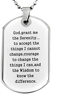 Soul Statement Confirmation Gifts Religious Necklace : Serenity Prayer Lord's Prayer Bible Verse Dog Tag Necklace