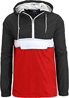 Mens Classic Windbreaker Pullover with Attached Hood and Colors