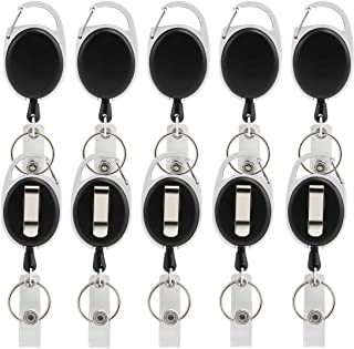 ljdeals Retractable Badge Holder with Key Ring Carabiner Reel Clip On Id Card Holders, Pack of 10