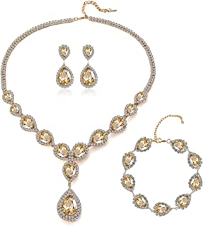 Paxuan Womens Silver/Gold Plated Teardrop Crystal Wedding...