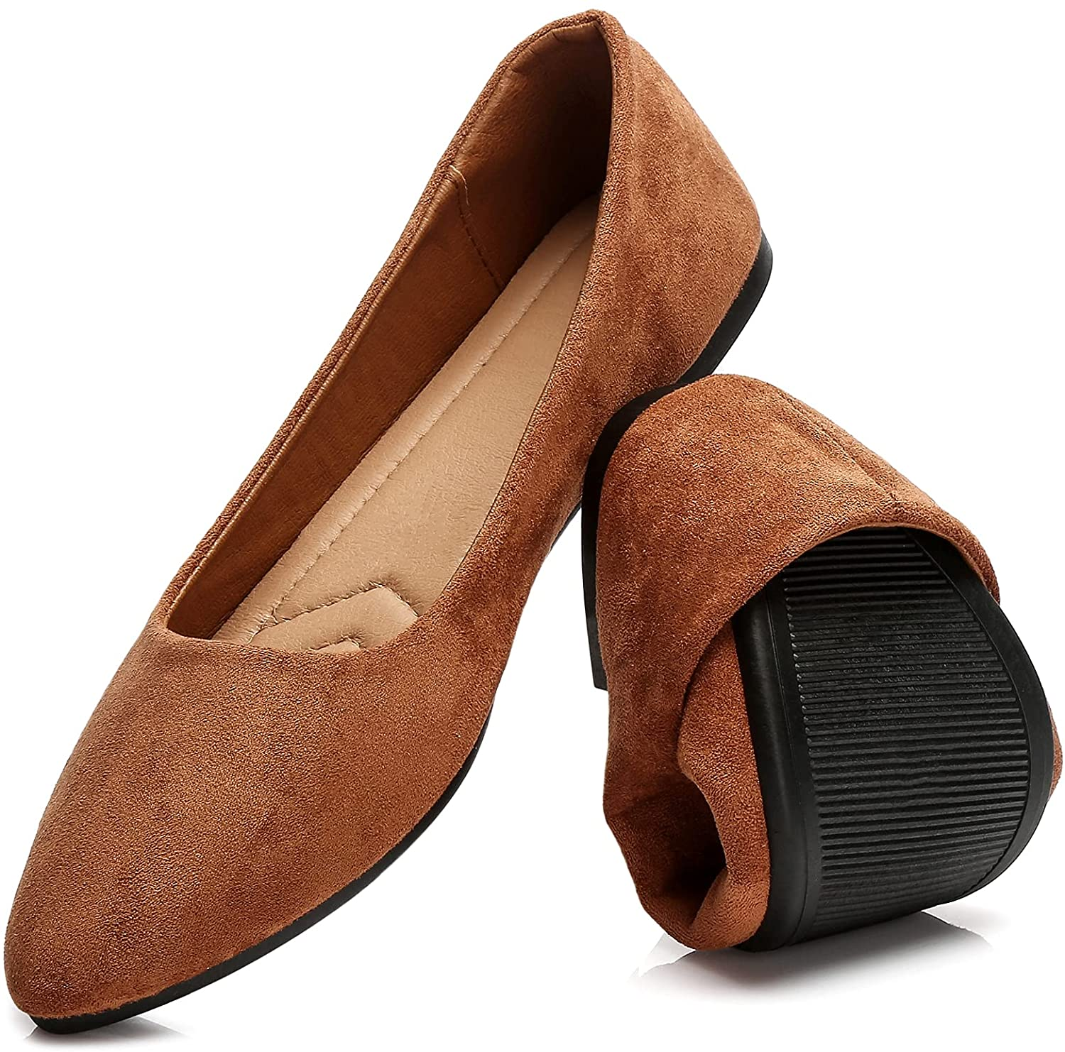 HEAWISH Women's Black Flats Shoes Max 53% OFF Comfortable In stock Toe Suede Pointed