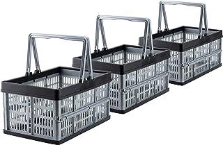 Grizzly Lot de 3 Caisse de Rangement Pliante avec poignées - 16 L - Panier pliable - Empilables