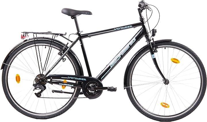 Bicicletta stile graziella - f.lli schiano voyager, bici trekking uomo, nero-blu, 28`` B07WZGGYSJ