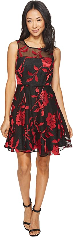 Tahari by ASL - Petite Burnout Floral Party Dress