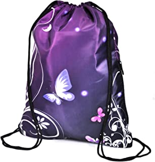 Butterfly Purple Drawstring Backpack Bag Sackpack Gym sack Sport Beach Daypack for Hiking Team Swimming Training Yoga Gym Outdoor Exercise