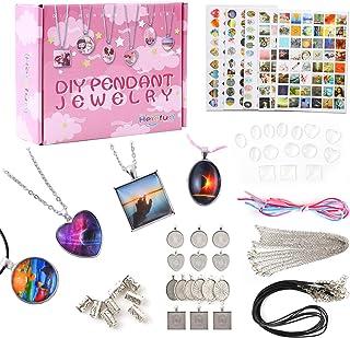 Herefun Kit de Fabrication de Bijoux, Kit Fabrication Bracelet Breloque, Enfants Pendentif Collier Bracelet, Kit De Loisir...