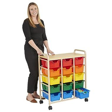 ECR4Kids 15-Bin Rolling Storage Organizer - Heavy Duty Mobile Cart, Sand and Assorted