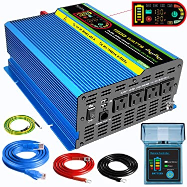 Pure Sine Wave Power Inverter 1500 Watt DC 12V to AC 110V/120V Solar Car Converter 4 AC Outlets Dual USB Ports with 5 Meter Remote Control and LCD Display - Peak Power 3000W