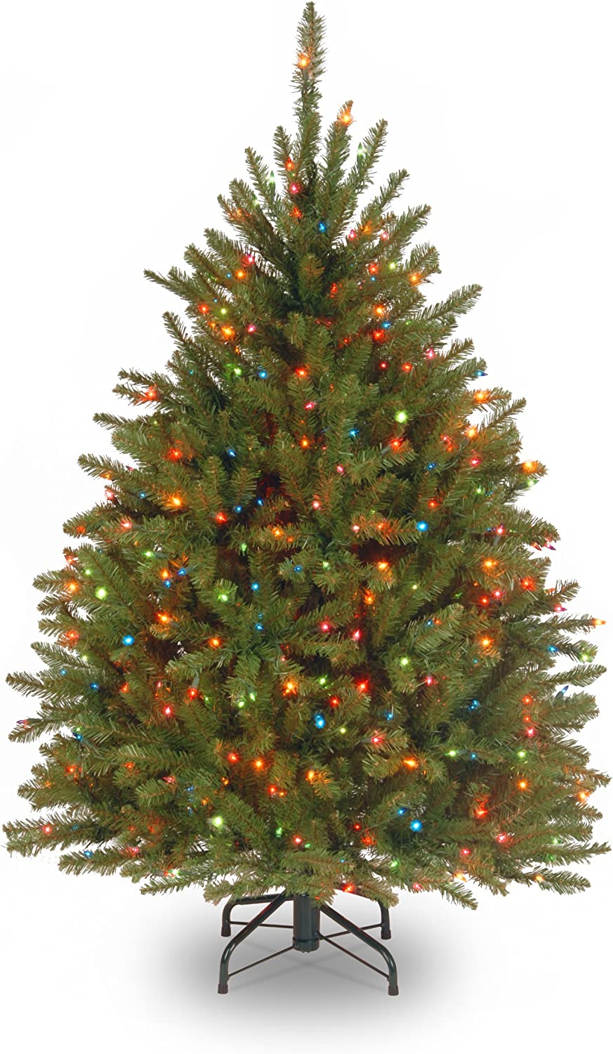National Tree 4.5 Foot Dunhill Fir Tree with 450 Multicolor Lights, Hinged (DUH-45RLO)