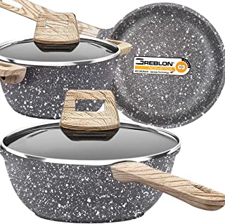 Lightning Deals Nonstick Stone-Derived Cookware Set, Induction Cooking Pots and Pans Set, Soft Touch Bakelite Handle, Dishwasher Safe, PFOA Free, FDA, Oven Safe,Holiday Kitchen Christmas Gifts
