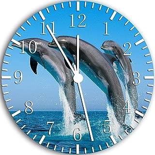 Borderless Cute Dolphin Frameless Wall Clock W61 Nice for Decor Or Gifts