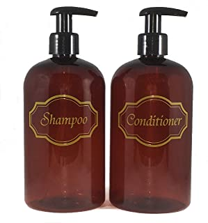 Bottiful Home-16 oz Amber Shampoo and Conditioner Shower Soap Dispensers-2 Refillable Empty PET Plastic Pump Bottle Shower Containers-Printed Design-Waterproof, Rust-Free, Clog-Free, Drip-Free