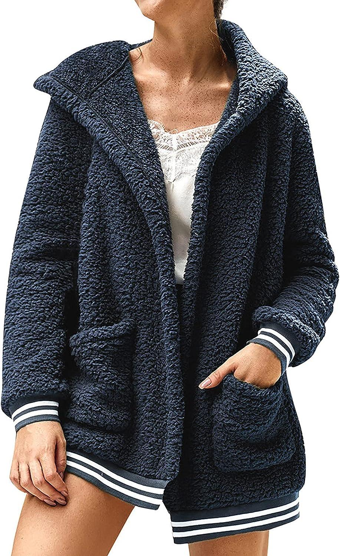 Kanzd Coats Year-end shipfree gift for Women Women's Fuzzy Front Lapel Open Warm Fleece
