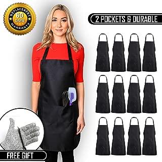CHEFLUX [12pk] Premium Professional Black Restaurant Aprons with 2 Large Pockets [Bulk] Chef Cooking Bib Apron for Kitchen Waitress [Unisex] Men Women [53 g Lightweight] BBQ Painting Stylist Artist