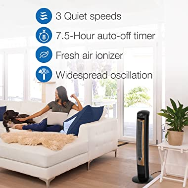 """Lasko Products Portable Electric 42"""" Oscillating Tower Fan with Fresh Air Ionizer, Timer and Remote Control for Indoor, B"""