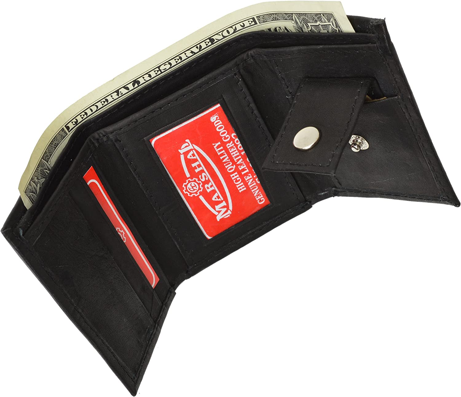Leather Children's Wallet - Style mw825 (Black) : Clothing, Shoes & Jewelry
