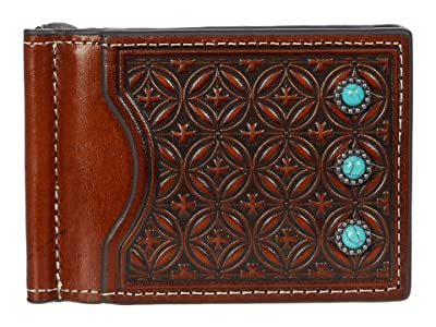 M&F Western Diamond Embossed Turquoise Stone Money Clip Wallet (Tan) Handbags