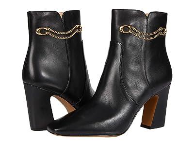 COACH Tessa Leather Bootie (Black) Women