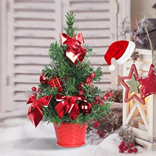 SHareconn Mini Artificial Tabletop Christmas Tree, 12 Inch Xmas Decor Tree with Red Ornaments Perfect for Table and Desk Tops.