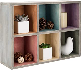 MyGift Wall-Mountable 6-Compartment Rainbow Wood Shadow Display Box