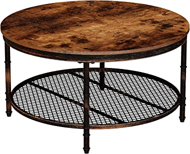 """Rolanstar Rustic Round Coffee Table with Iron Mesh Storage Organizer Shelves and Retro Metal Frame, for Living Room, 35.5"""",CF002-A"""