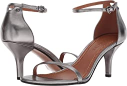 COACH Heeled Sandal,Gunmetal Metallic Leather