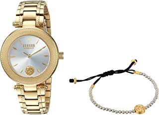 Versus by Versace Women's Brick Lane Combo Box Quartz Watch with Gold-Plated-Stainless-Steel Strap, 177 (Model: VSP712118)