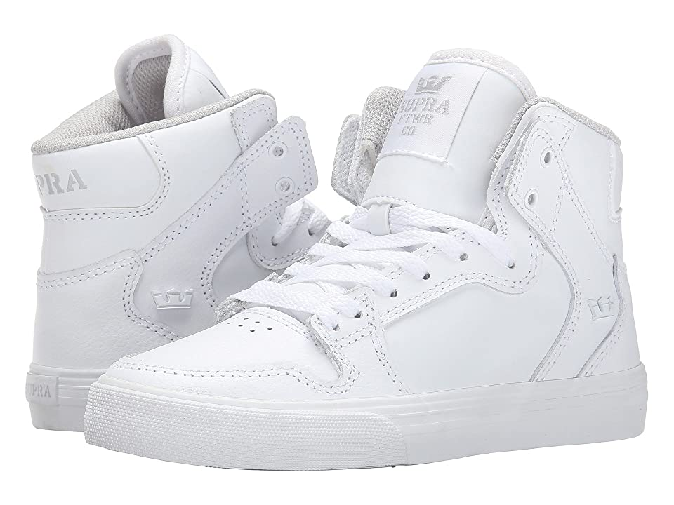 Supra Kids Vaider (Little Kid/Big Kid) (White Leather) Kids Shoes
