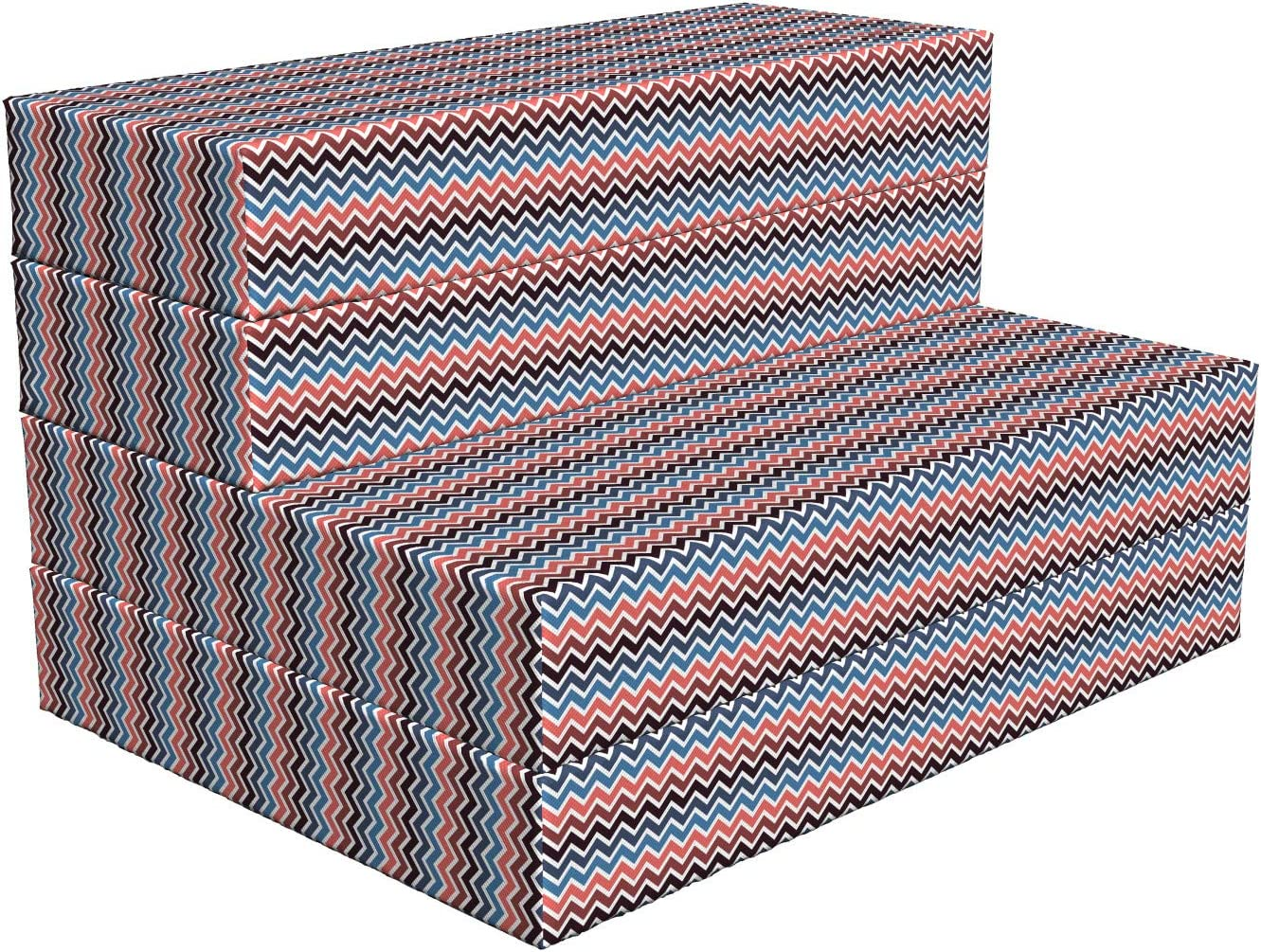 Lunarable Chevron Foldable Same day shipping Mattress New Orleans Mall Colors Contrasting 7 Lines