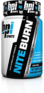 BPI Sports Nite Burn – Fat Burner – Sleeping Pill – Keto-Friendly – Weight Loss, Burn Fat, Relaxation, Boost Metabolism – 30 Servings – 640mg