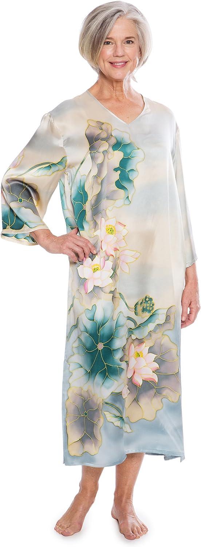 TexereSilk Women's Luxury 100% Silk Caftan  Beautiful 3 4 Sleeve Night Gown