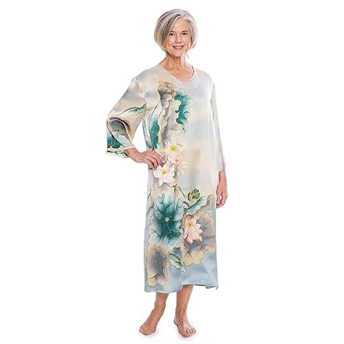 f7e1411f10 TexereSilk Women s Luxury 100% Silk Caftan - Beautiful 3 4 Sleeve Night Gown